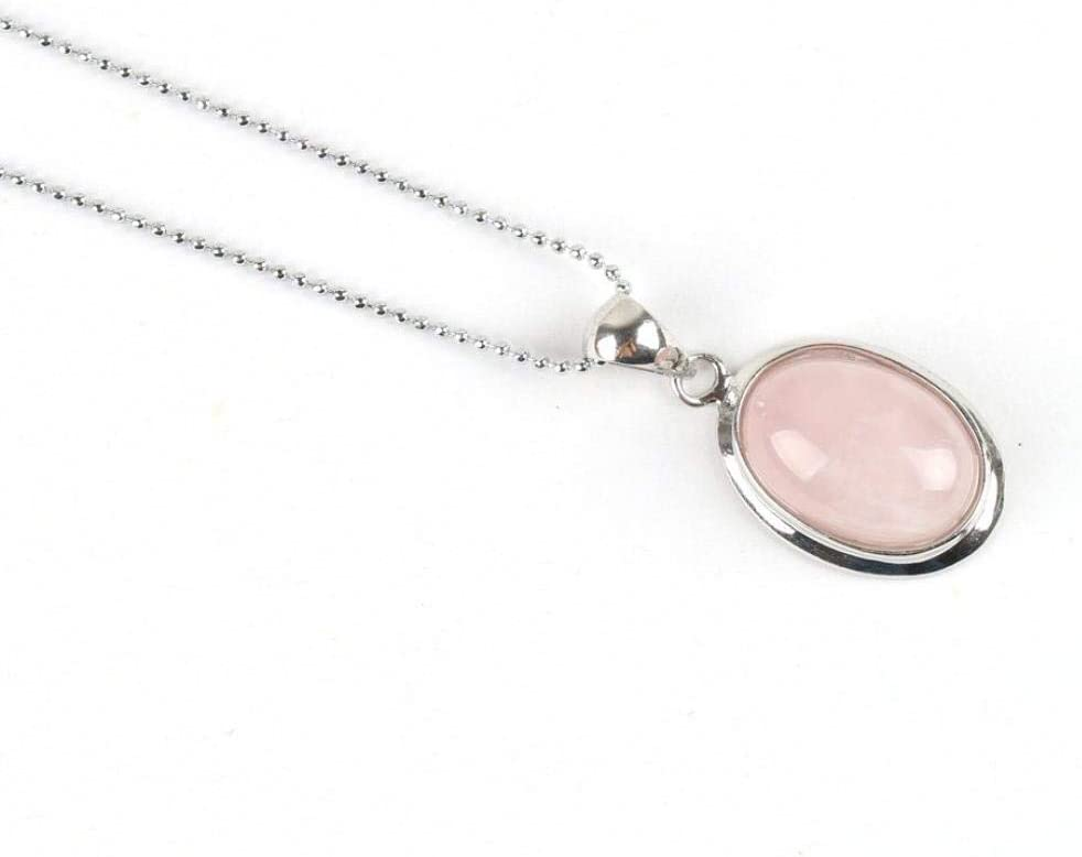 TFOOD Collarcolgante Piedra Preciosa,Forma De Huevo Natural De Moda Colgante De Cuarzo Rosa Collares De Cadena De Plata para Mujeres Regalos De Joyería