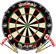 Winmau Blade 5 Bristle Dartboard with 2 Sets of Brass Steel Tip Darts