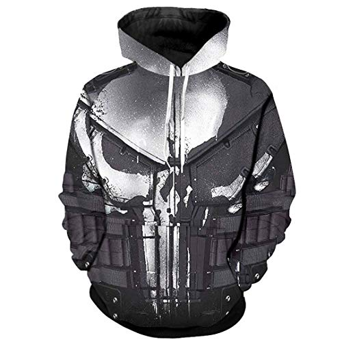 Amazon.com: SaoBiiu Cosplay Hoodies for Men Skull 3D Print Sweatshirts Cool Punisher Hoodies: Clothing