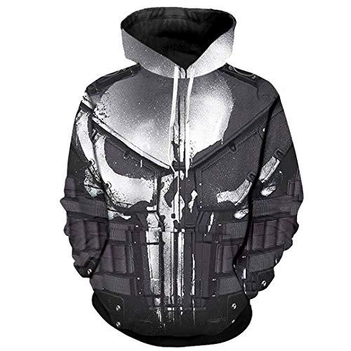 Amazon.com: SaoBiiu Cosplay Hoodies for Men Skull 3D Print Sweatshirts Cool Punisher Hoodies: Clothing
