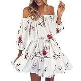 UOFOCO Summer Dress for Womens Mini Dress Short Off Shoulder Floral Print Sundress Party Beach