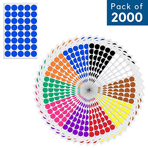 (3/4, 0.75 inch) Round Color Coding Circle Dot Sticker Labels - 10 Assorted Colors, Pack of 2000