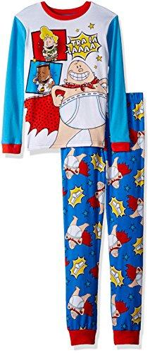 Captain Underpants Boys' Big 2-Piece Cotton Pajama Set, True Blue, 8