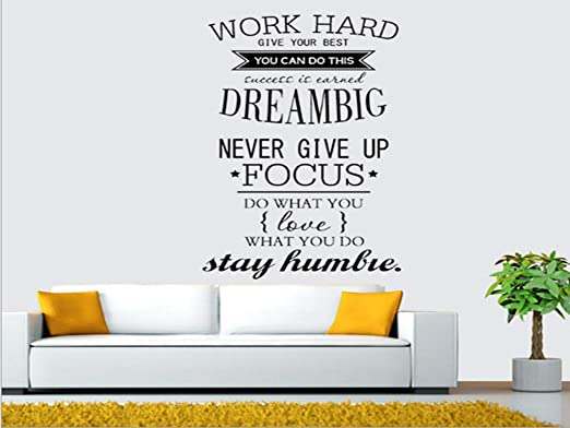 Work Hard Dream Big Wall Sticker Quotes Wall Art Stickers Bedroom Wall Decals