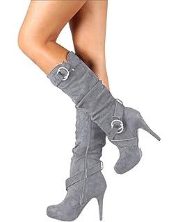 Minetom Mujer Botas Largas De Gamuza Casual Tacones Aguja Altos Zapatos Otoño Invierno Retro Botas Altas