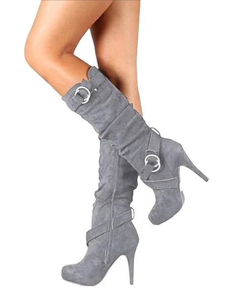 bcafb1b8ab83c Minetom Mujer Botas Largas De Gamuza Casual Tacones Aguja Altos Zapatos  Otoño Invierno Retro Botas Altas Calentar Moda  Amazon.es  Zapatos y  complementos