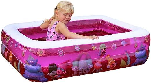 Vida GmbH Infantil planschbecken Color Rosa Trolls Infantil Piscina Baby bañera Rectangular aufblasbarem Suelo Balcón Pelotas baño R: Amazon.es: Jardín