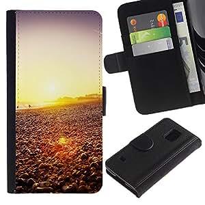 LASTONE PHONE CASE / Lujo Billetera de Cuero Caso del tirón Titular de la tarjeta Flip Carcasa Funda para Samsung Galaxy S5 V SM-G900 / Happy Hipster Beach Sunset