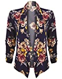 HOT FROM HOLLYWOOD Women's Lightweight Open Cardigan Blazer Jacket 3/4 Sleeves in Solid Floral Print