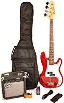 Ursa 1 JR RN PK CAR Red 3/4 Size Bass Guitar Package w/Free Carry Bag, Amp and On Line Video Instruction