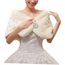 Fakeface Women Winter Classic Faux Fur Capelets Shawls Soft Wedding Bridal Shoulder Cape Wraps Tippet White