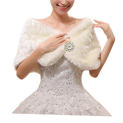 Women Elegant Cape Shawls Spring Wedding Wraps Capelet Ivory One Size (White Fake Fur Shawl)