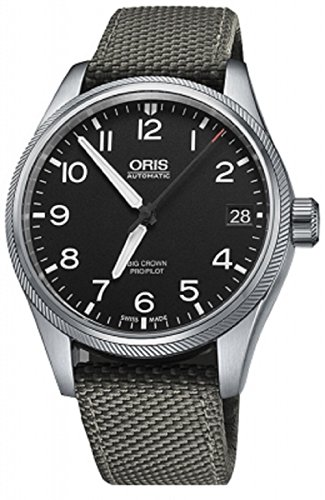 Oris Big Crown Mens Black Face Date Automatic Grey Canvas Strap Swiss Watch 01 751 7697 4164-01 5 20 17FC