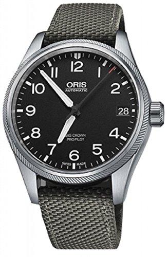 Oris Big Crown Mens Black Face Date Automatic Grey Canvas Strap Swiss Watch 01 751 7697 4164-01 5 20 17FC