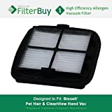 Bissell Pet Hair Eraser Replacement Filter, Part # 203-7416. Designed by FilterBuy to fit Bissell Pet Hair Eraser Hand Vac.