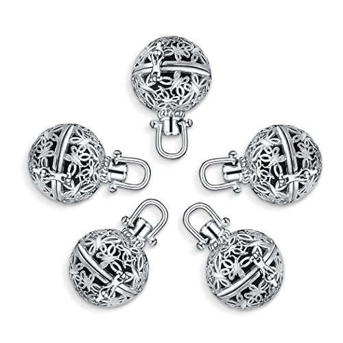 Romance Jewelry 5Pcs Rhodium Plated Diffuser Locket Aromatherapy Essential Oil Pendant Cage Locket with Lava (Romance Pearl Bracelet)