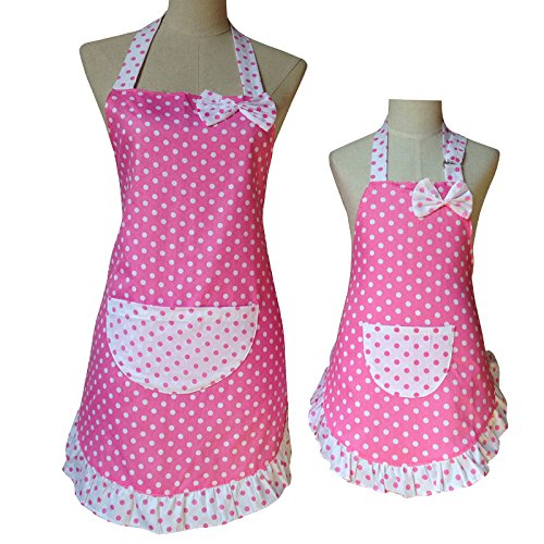 Mommy and Me Matching Retro Polka Dot Apron Set of 2 Mother Daughter (Pink) ()