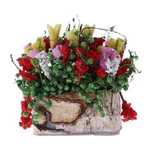 - Forgun New 1:12 Multicolor Flower Bush with Wood Pot Dollhouse Miniature Doll Parts