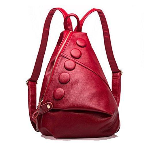 Eysee - Bolso mochila de Piel para mujer rojo vino