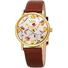 Burgi Women's BUR186 Series Floral Print Watch with Rose Gold & Black Leather Strap - Packed in a Beautiful Gift Box (Brown)