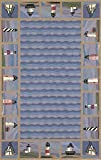 KAS Oriental Rugs Colonial Collection Lighthouse Waves Area Rug, 8' x 10'6'', Blue