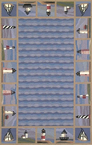 KAS Oriental Rugs Colonial Collection Lighthouse Waves Oval Area Rug, 2'6