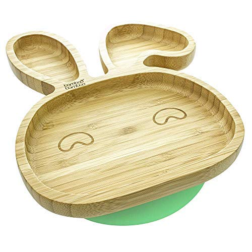 Baby Toddler Rabbit Suction Plate, Stay Put Feeding Plate, Natural Bamboo by bamboo bamboo