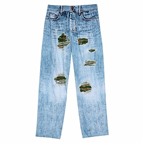 Unisex-Adult Faux Ripped Denim Blue Jeans Camo Lounge Pants