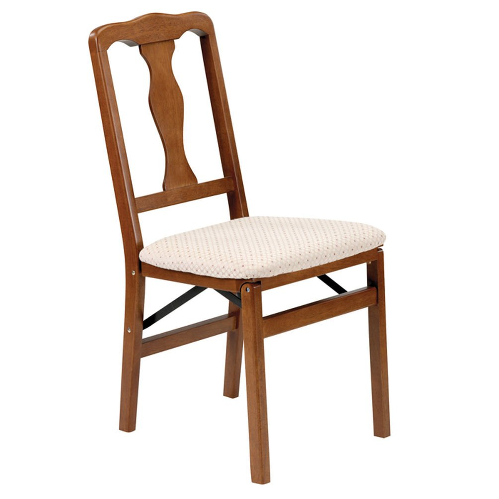 Queen Anne Wood Folding Chair in Warm Fruitwood Finish - Set of 2 Meco Corporation