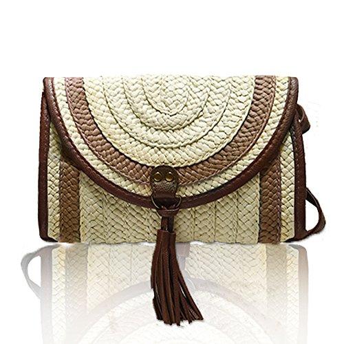 Sac à main en bambou,yunt sac en bambou arche fourre-tout sac à main en bambou paille sac d'été plage sac demi-lune circulaire sac à bandoulière bandoulière pour les femmes Café