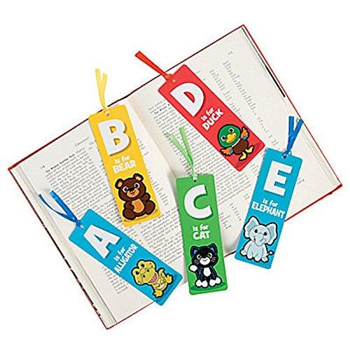 "52 ~ Alphabet Laminated Bookmarks ~ 2"" x 6"" with satin ri..."