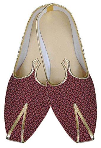 INMONARCH Hombres Maroon Zapatos Diseñador Indio MJ0041