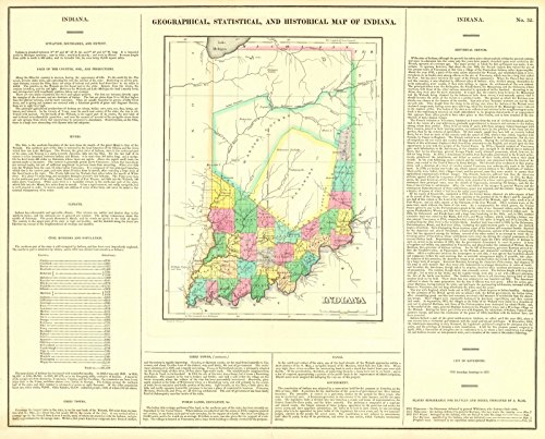 Historical Reproductions Map (Vintage Map   1822 Geographical, Statistical, and Historical Map of Indiana   Historic Poster Art Reproduction   30in x 24in)