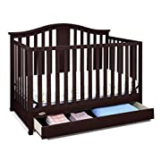 Graco Solano 4-in-1 Convertible Crib with Drawer, Espresso, Easily Converts to Toddler Bed Day Bed or Full Bed, Three Position Adjustable Height Mattress, Assembly Required (Mattress Not Included)
