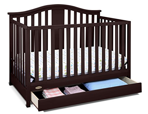 Graco Solano 4-in-1 Convertible Crib with Drawer, Espresso, Easily Converts to Toddler Bed Day Bed or Full Bed, Three Position Adjustable Height Mattress, Assembly Required (Mattress Not Included) ()