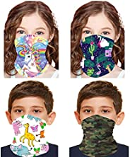 ATIMIGO 4 Pack Kids Face Mask Mouth Cover Bandanas Multifunctional Neck Gaiter Sun Mask Headband Dust Block Ba