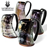Norse Tradesman Genuine Viking Drinking Horn Tankards | Set of 4 Mugs | Ring Engravings - ''The Eternal''