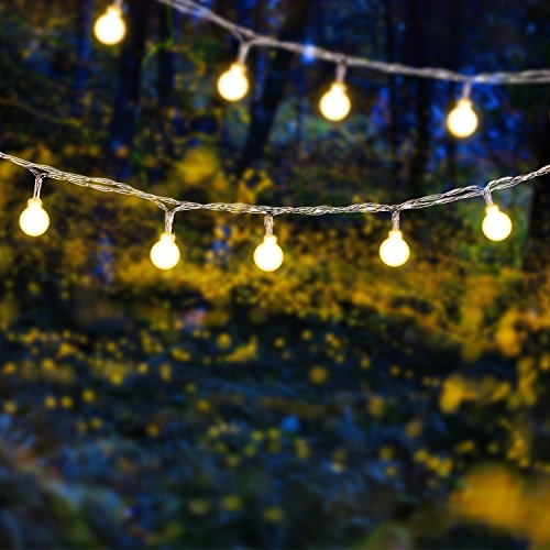 Frosted Plastic Globe (Solar Outdoor String Lights - 2-Pack Voona 30ct 20ft Frosted Globes Warm White LED Decoration Strings for Holiday Party Outdoor Garden (frosted globe))