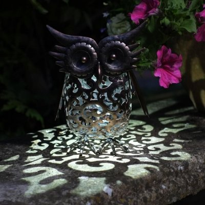 Metal Scroll Owl Solar Light Smart Solar