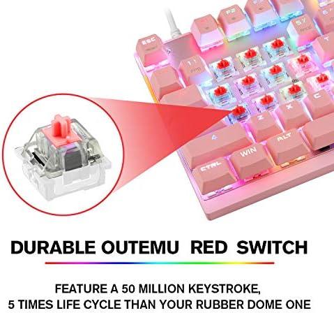 MOTOSPEED Professional Gaming Mechanical Keyboard RGB Rainbow Backlit 87 Keys Illuminated Computer USB Gaming Keyboard for Mac & PC Pink 51MjS3C3GfL