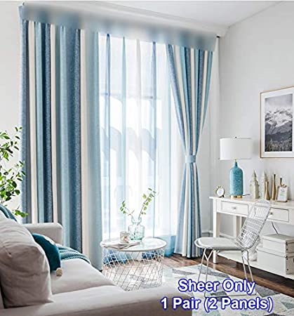 Blue Striped Window Sheer Curtains Modern Living Room Vertical Stripes  Printed Tulle Fresh Polyester Door Drapers Rod Pocket Top Thin Voile Home  ...