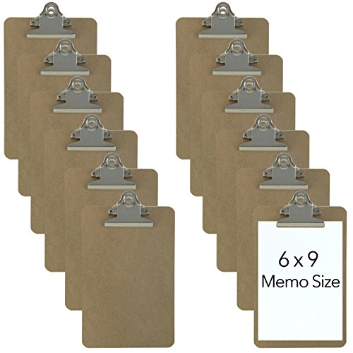Trade Quest Memo Size 6'' x 9'' Clipboards Standard Clip Hardboard (Pack of 12) (Pen Not Included - for Scale Only) -