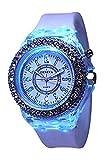 White Geneva Quartz Flashing Light up Color Changing LED Silicone Jelly Watch