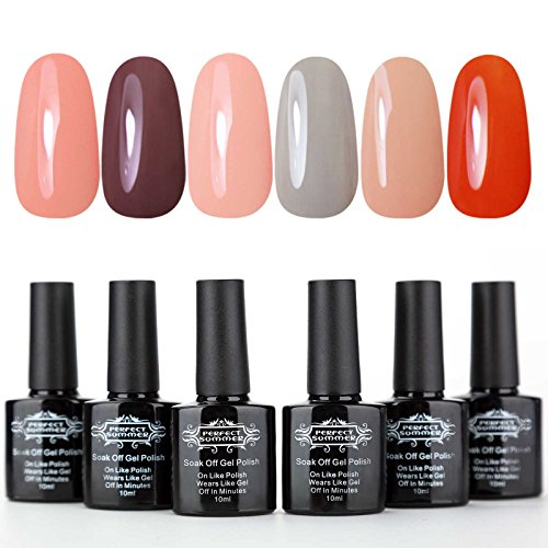 Perfect Summer Soak Off Gel Nail Polish Set - UV/LED Nail Polish Gift Kit,Manicure Starter Kit,10ml Each #10