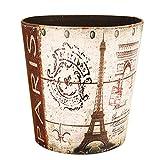 Retro Wastebasket,Haoun European Style PU Leather Waterproof Paper Basket Trash Can Large Dustbin Luxury Garbage Bin - 5