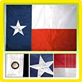GHP 8'x12′ Texas Nylon Embroidered State Flag w 2 Brass Metal Grommets For Sale