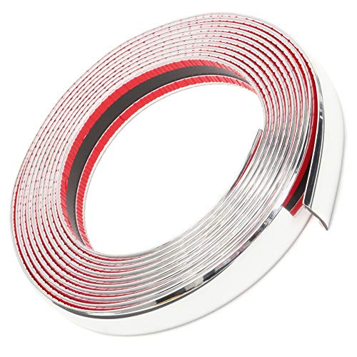Chrome Decoration - OtoLiman 25mm x 16feet (5metre) Car Chrome Moulding Trim Strip Decoration PVC Tape Sticky - Bumper Door Guard Protection