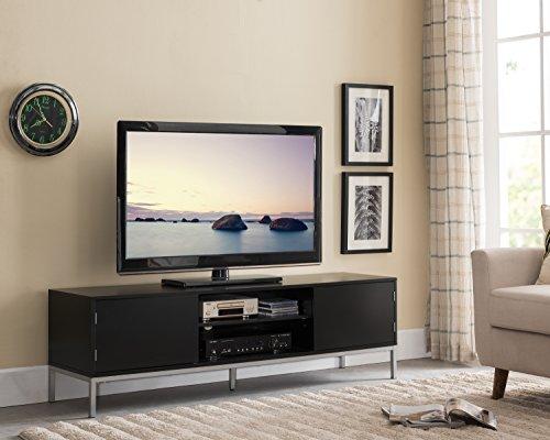 "e 60"" Wood TV Stand Entertainment Center Storage Console, Black Silver ()"