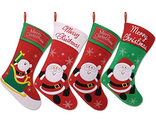 "Price comparison product image Bonison 16.5"" Embroidered Christmas Stocking with Adorable Christmas Theme Cartoon,  Made with Cotton and Felt,  Perfect for Tree Decoration,  Children Gift (4 Pack)"