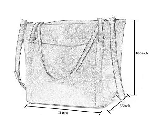 ACMEDE Damen Handtasche Shopper Schultertasche Umhängetasche Leder groß mit kleiner Reißverschluss-Tasche Braun Schwarz